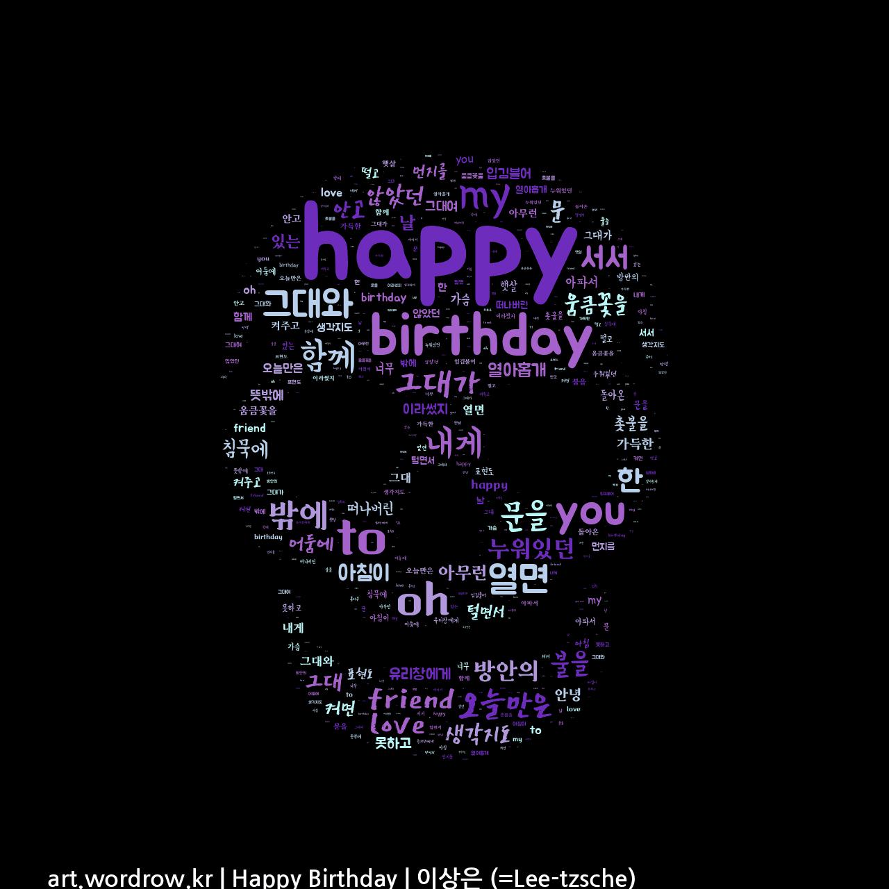 워드 클라우드: Happy Birthday [이상은 (=Lee-tzsche)]-3